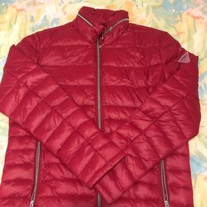 Guess Red Puffer Jacket Full Zip Size M
